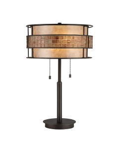 Elstead Lighting Quoizel Laguna 2 Light Table Lamp In Renaissance Copper Finish With Mica and Mosaic Tile Cylinder Shade