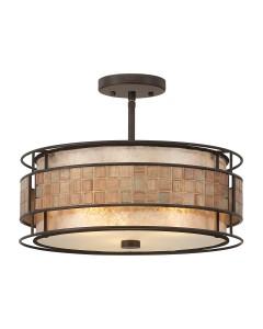 Elstead Lighting Quoizel Laguna 3 Light Semi-Flush Ceiling Light In Renaissance Copper Finish