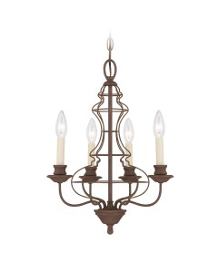 Elstead Lighting Quoizel Laila 4 Light Chandelier In Rustic Antique Bronze Finish