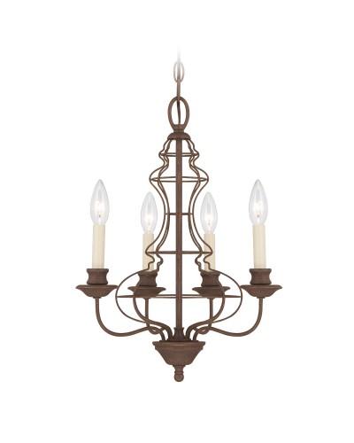 Elstead Lighting Quoizel Laila 4 Light Chandelier In Rustic Antique Bronze Finish