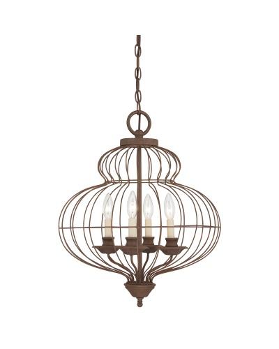 Elstead Lighting Quoizel Laila 4 Light Pendant Chandelier In Rustic Antique Bronze Finish