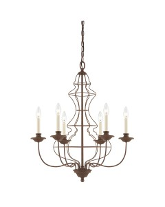 Elstead Lighting Quoizel Laila 6 Light Chandelier In Rustic Antique Bronze Finish
