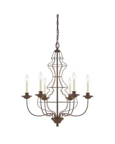 Elstead Lighting Quoizel Laila 6 Light Chandelier In Rustic Antique Bronze Finish