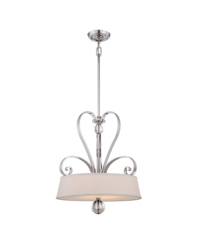 Elstead Lighting Quoizel Madison Manor 4 Light Pendant In Imperial Silver Finish With Height Adjustable Rods