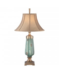 Elstead Lighting Quoizel Monteverde Ceramic Green Table Lamp With Caramel Crushed Silken Softback Shade