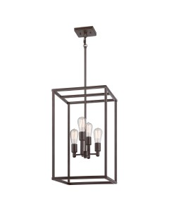 Elstead Lighting Quoizel New Harbor 4 Light Pendant In Western Bronze Finish With Height Adjustable Rods