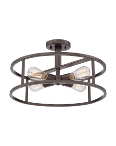 Elstead Lighting Quoizel New Harbor 4 Light Semi-Flush Ceiling Light In Western Bronze Finish