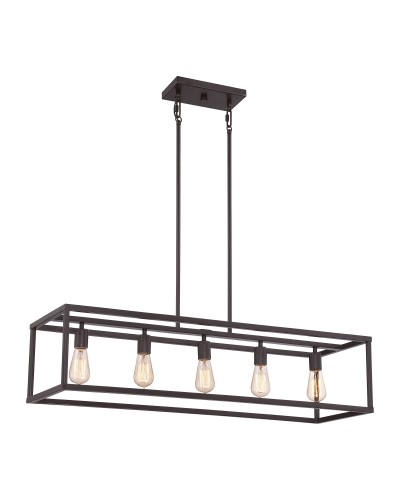 Elstead Lighting Quoizel New Harbor 5 Light Island Chandelier In Western Bronze Finish With Height Adjustable Rods