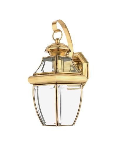 Elstead Lighting Quoizel Newbury 1 Light Outdoor Medium Wall Lantern In Polished Brass