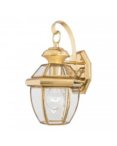 Elstead Lighting Quoizel Newbury 1 Light Outdoor Small Wall Lantern In Polished Brass