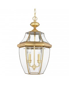 Elstead Lighting Quoizel Newbury 2 Light Outdoor Large Chain Lantern In Polished Brass