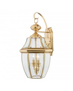 Elstead Lighting Quoizel Newbury 2 Light Outdoor Large Wall Lantern In Polished Brass
