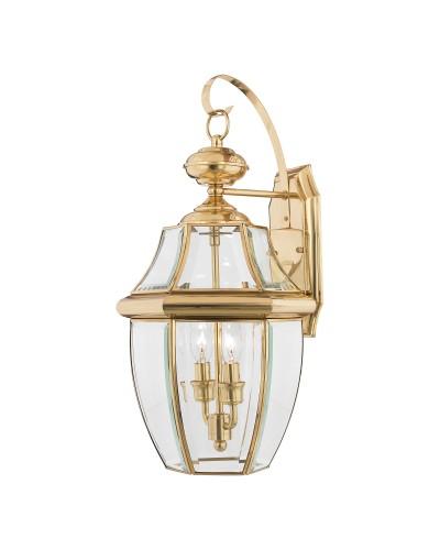 Elstead Lighting Quoizel Newbury 2 Light Outdoor Large Wall Lantern In Polished Brass