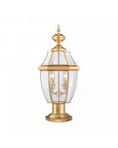 Elstead Lighting Quoizel Newbury 2 Light Outdoor Pedestal Lantern In Polished Brass