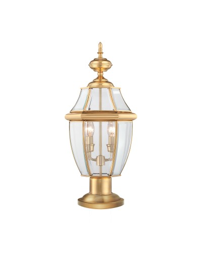 elstead lighting quoizel newbury 2 light outdoor pedestal lantern in
