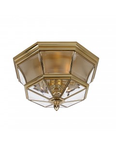 Elstead Lighting Quoizel Newbury 3 Light Flush Ceiling Light In Polished Brass (Also Suitable for Bathrooms and Outdoors - Rated IP44)