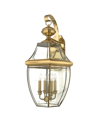 Elstead Lighting Quoizel Newbury 4 Light Outdoor Extra-Large Wall Lantern In Polished Brass