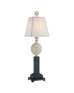 Elstead Lighting Quoizel Palmetta Table Lamp In Silver & Black Finish With White Square Linen Shade