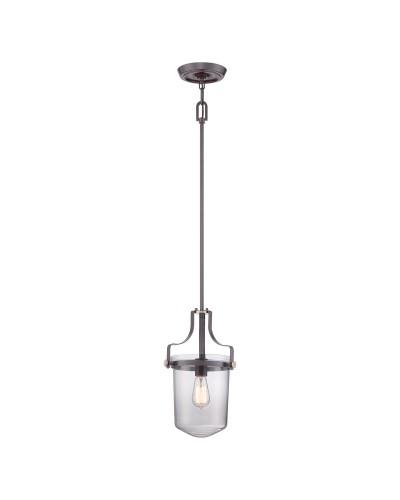 Elstead Lighting Quoizel Penn Station 1 Light Mini Indoor Lantern In Western Bronze Finish With Height Adjustable Rods