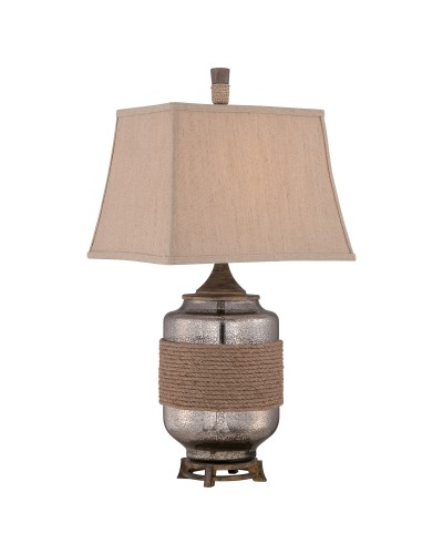 Elstead Lighting Quoizel 'Rigging' Mercury Glass Table Lamp Decorated With Rope Complete With Slubbed Sand Linen Softback Shade