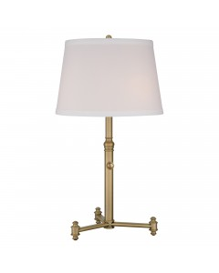 Elstead Lighting Quoizel Southway 3 Light Table Lamp In Aged Brass Finish With Hardback Geneva White Shade