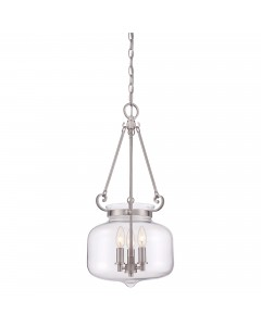 Quoizel Stewart 3 Light Pendant In Brushed Nickel Finish With A Clear Glass Bowl