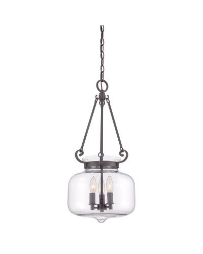 Quoizel Stewart 3 Light Pendant In Western Bronze Finish With A Clear Glass Bowl