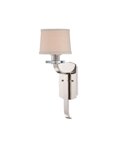 Quoizel Sutton Place 1 Light Wall Light In Imperial Silver Finish With Milano Fabric Shade