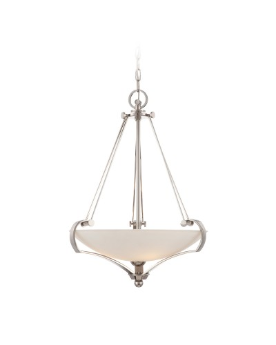 Quoizel Sutton Place 4 Light Pendant In Imperial Silver Finish With Acid Etched Shade