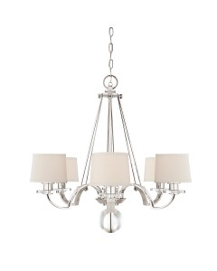 Quoizel Sutton Place 6 Light Chandelier In Imperial Silver Finish With Milano Fabric Shades