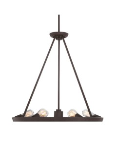 Quoizel Theater Row 7 Light Circular Pendant In Western Bronze Finish With Height Adjustable Rods