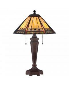 Quoizel Tiffany Arden 2 Light Table Lamp In Bronze Patina Finish