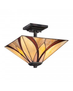 Quoizel Tiffany Asheville 2 Light Semi Flush Ceiling Light In Valiant Bronze Finish