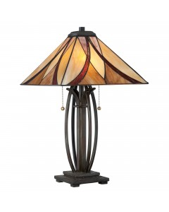 Quoizel Tiffany Asheville 2 Light Table Lamp In Valiant Bronze Finish