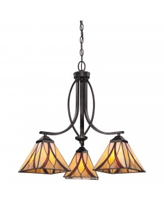 Quoizel Tiffany Asheville 3 Light Chandelier In Valiant Bronze Finish