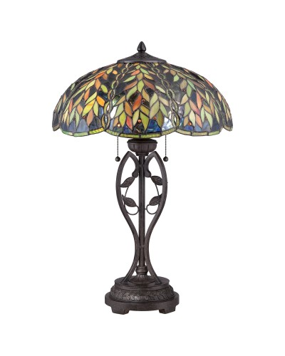 Quoizel Tiffany Belle 2 Light Table Lamp In Imperial Bronze Finish