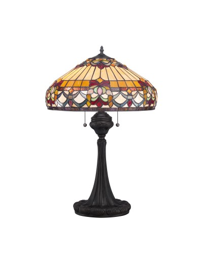 Quoizel Tiffany Belle Fleur 2 Light Table Lamp In Vintage Bronze Finish