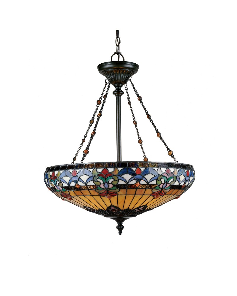 Suspension Tiffany quoizel tiffany belle fleur 4 light pendant in vintage bronze finish