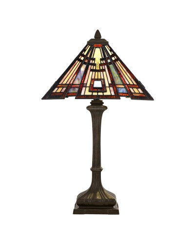 Quoizel Tiffany Classic Craftsman 2 Light Table Lamp In Valiant Bronze Finish