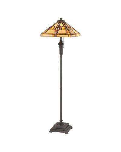 Quoizel Tiffany Finton 2 Light Floor Lamp In Vintage Bronze Finish