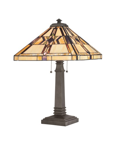 Quoizel Tiffany Finton 2 Light Table Lamp In Vintage Bronze Finish