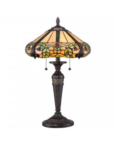 Quoizel Tiffany Harland 2 Light Table Lamp In Vintage Black Finish
