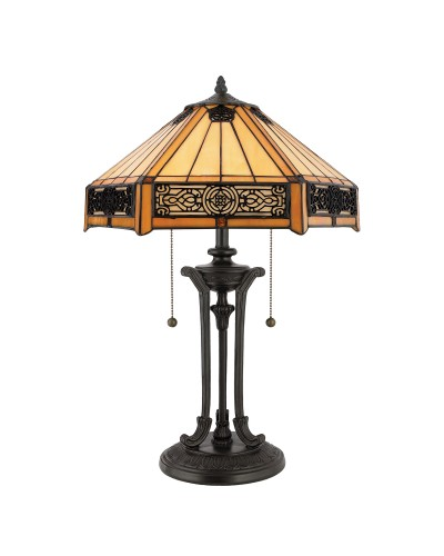 Quoizel Tiffany Indus 2 Light Table Lamp In Vintage Bronze Finish