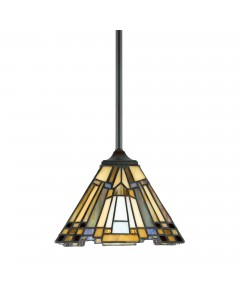 Quoizel Tiffany Inglenook 1 Light Mini Pendant In Valiant Bronze Finish With Height Adjustable Rods