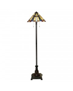 Quoizel Tiffany Inglenook 2 Light Floor Lamp In Valiant Bronze Finish