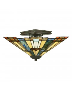 Quoizel Tiffany Inglenook 2 Light Semi Flush Ceiling Light In Valiant Bronze Finish