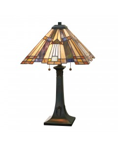 Quoizel Tiffany Inglenook 2 Light Table Lamp In Valiant Bronze Finish