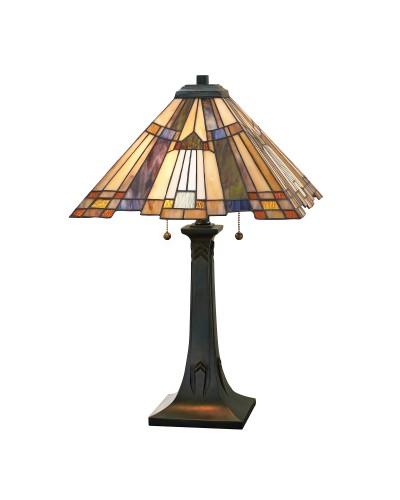 Quoizel Tiffany Inglenook 2 Light Table Lamp In Valiant Bronze Finish