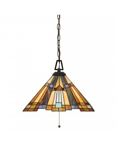 Quoizel Tiffany Inglenook 3 Light Pendant In Valiant Bronze Finish With Chain