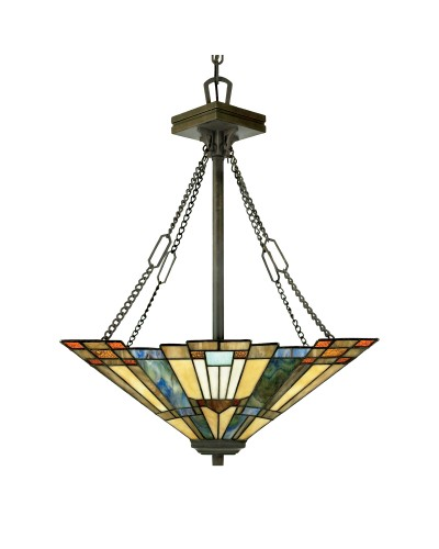 Quoizel Tiffany Inglenook 3 Light Uplight Pendant In Valiant Bronze Finish With Chain